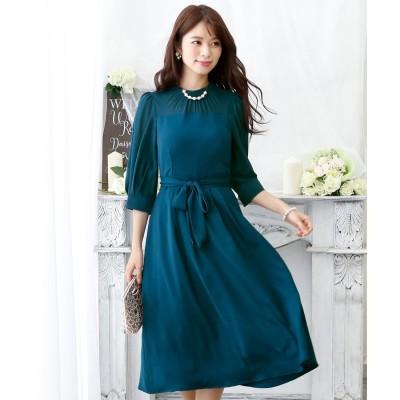 プールヴー PourVous クラシカルリボンロングスカートドレス・ ロングスカート/結婚式ワンピース お呼ばれ・二次会・セレモニー大きいサイズ対応フォーマルパーティードレス (ピーコックグリーン)