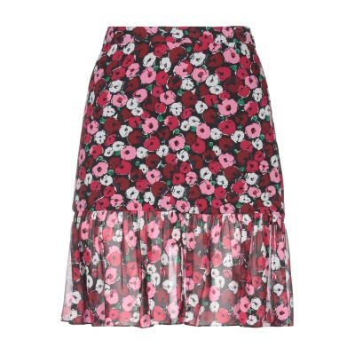 SAINT LAURENT ひざ丈スカート ボルドー 40 シルク 100% ひざ丈スカート
