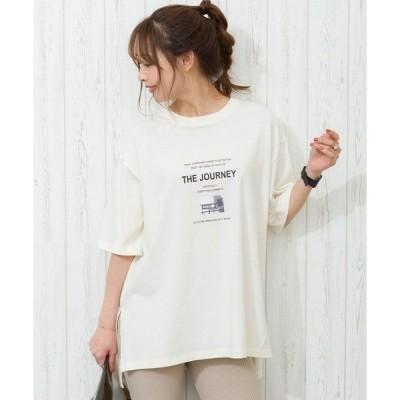 tシャツ Tシャツ ロゴフォトスリット Tシャツ