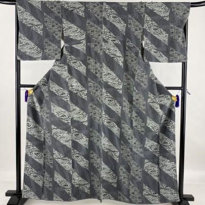 在庫一掃 小紋 美品 秀品 草花 風景 縮緬 青灰色 袷 161.5cm 67cm M 正絹 中古