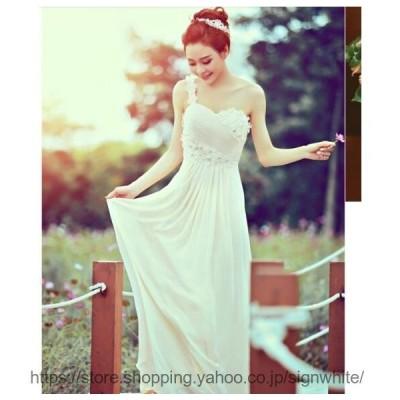 ウェディングドレス ロング丈 パーティードレス プリンセスライン 上品 エレガント ナイトドレス