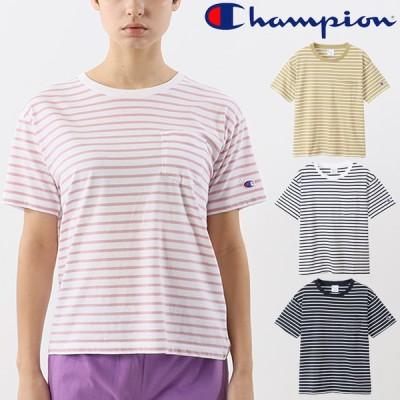 半袖 Tシャツ 胸ポケット レディース Champion  チャンピオン S/S ボーダーTシャツ/スポーティ カジュアル ウェア ポケT ボーダー柄 女性 シンプル /CW-T327