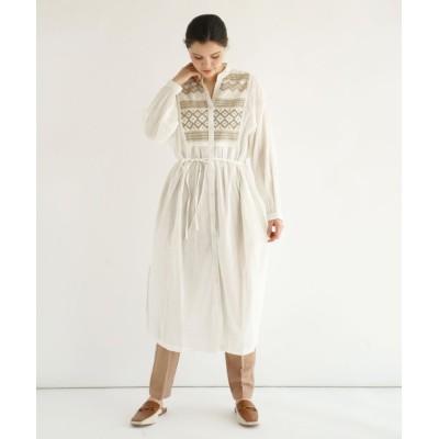 【フィーカ】 FIKA. Embroidery cotton Onepiece レディース オフホワイトP M FIKA.