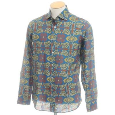 アウトレット バグッタ Bagutta プリント コットン ワイドカラーシャツ ブルー×オーカー系 37