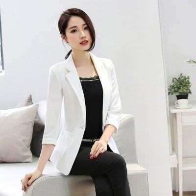 テーラードジャケットレディース夏通勤ビジネスサマージャケット7分袖薄手スーツジャケットフォーマル入学式卒業式面接白黒