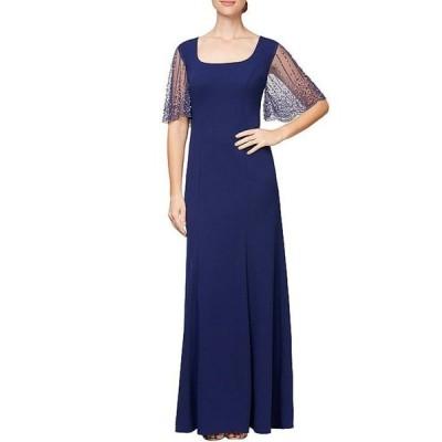 アレックスイブニングス レディース ワンピース トップス Square Scoop Neck Embellished Flutter Elbow Sleeve A-Line Dress