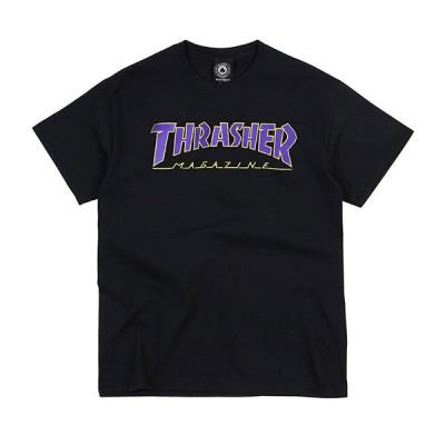 Thrasher Magazine(スラッシャー マガジン)US Tシャツ Outlined s/s Tee Black/Purple メンズ カジュアル ストリート スケボー SKATE SK8 PUNK パンク HIPHOP