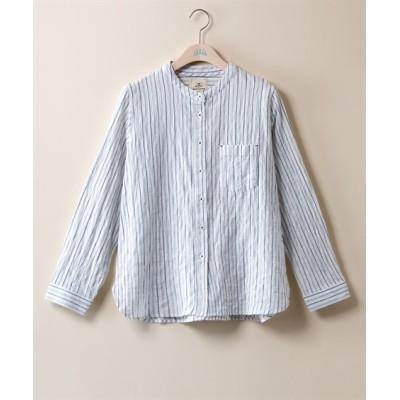 【大きいサイズ】 楊柳ストライプバンドカラーシャツ【Lorenzo Righi】  plus size shirts, テレワーク, 在宅, リモート
