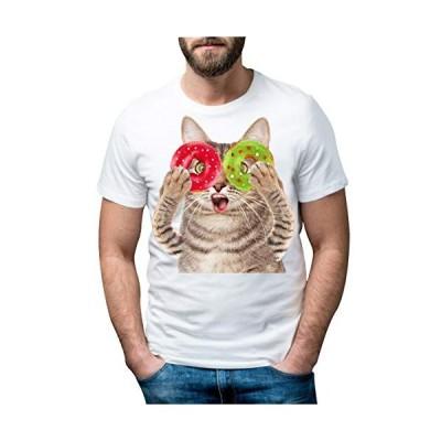 AOWOFS Tシャツ 半袖 クルーネック トリックアート 猫 ラウンドネック カットソー メンズ 3Dアート 立体的 プリントTシャツ イ