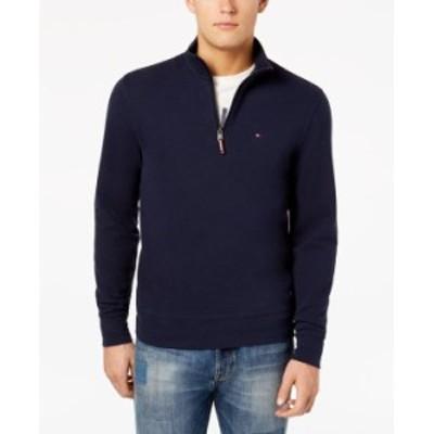 トミー ヒルフィガー メンズ ニット・セーター アウター Men's TH Flex French Rib Quarter-Zip Knit Pullover Sky Captain