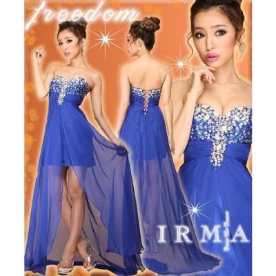 ドレス irma ドレス キャバ ドレス パーティードレス キャバドレス ロング イルマ ドレス ビジュ&シフォンショートinトレーンドレス