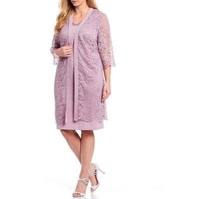 ルボ レディース ワンピース トップス Plus Size 2-Pice Lace Jacket Dress