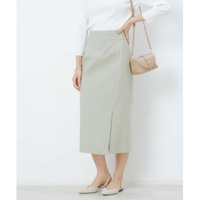 (Rouge vif la cle/ルージュヴィフラクレ)リネン混ハイテンションタイトスカート/レディース グリーン