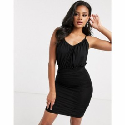 エイソス ASOS DESIGN レディース ワンピース キャミワンピ ワンピース・ドレス cami ruched blouson top mini dress in black ブラック