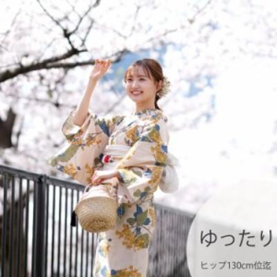 浴衣3点セット (浴衣/帯/下駄) ニコアンティーク 3L ゆったりサイズ(身長155-165cm ヒップ130cm頃) 浴衣 セット 高級変わり織り 浴衣