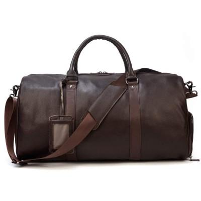 本革 ボストンバッグ メンズ 大容量 55cm トラベルバッグ 靴ポケット付き 手提げバッグ レザー ゴルフボストン鞄 底鋲付き 旅行鞄 ゴルフバッグ 出張 帰省用