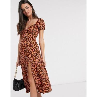 フレンチコネクション ミディドレス レディース French Connection animal printed dress in orange エイソス ASOS sale マルチカラー