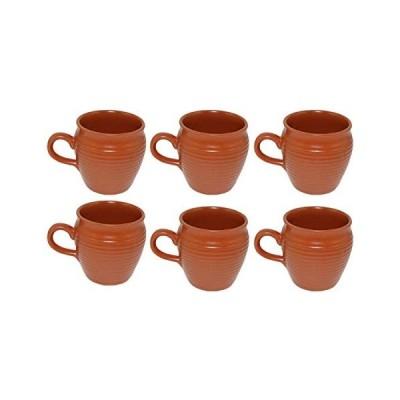 Odishabazaar Ceramic Kulhar Cups Traditional Indian Chai Tea Cup Set of 6 (Brown)