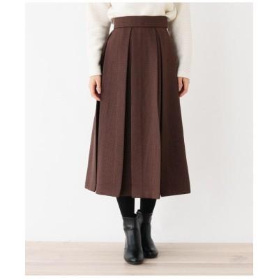【洗える・34(SS) 42(LL)WEB限定サイズ】LANATEC ボックスタックフレアスカート