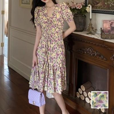 リゾートワンピース ワンピース リゾート 韓国 ファッション  春 夏 新作 カジュアル naloI592  ペールカラー パフスリーブ ギャザー Aラ