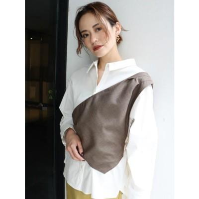 MURUA ワンショルドッキングシャツ(ホワイト)