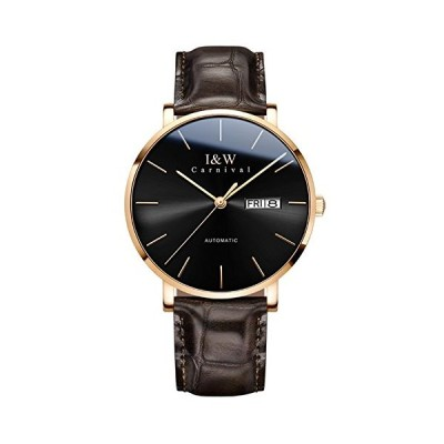 Men's Ultra-Thin Automatic Mechanical Watch Sapphire Glass Calendar Waterproof Brown Leather Band Watches (Black dial/Brown Band) 並行輸入品