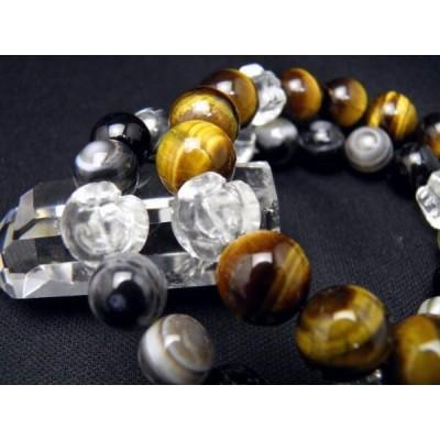 選べる2種類 ドクロ 水晶彫り 12mm玉 タイガーアイ 天眼石 数珠 ブレスレット レディース&メンズ ギフトに最適 風水 パワーストーン