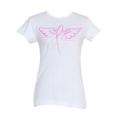 レディース 衣類 トップス Womens Ribbon Angel Wings Breast Cancer Awareness T-Shirt Tシャツ