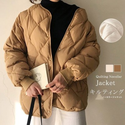 キルティング棉コートレディースジャケットノーカラー中綿暖かポケット付ボタン秋冬羽織り軽い保温ボリューム