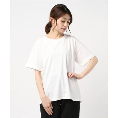tシャツ Tシャツ 【FORT POINT】袖折り返し クルーネックTシャツ 無地 ビッグシルエット