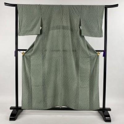 小紋 美品 優品 幾何学模様 灰緑 単衣 身丈159cm 裄丈63cm S 正絹 中古