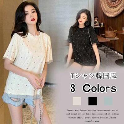 Tシャツ レディース トップス 半袖 着痩 韓国風 新作 お洒落 真珠付き キラキラ 大きいサイズ
