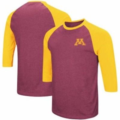 Colosseum コロセウム スポーツ用品  Colosseum Minnesota Golden Gophers Maroon/Gold Raglan 3/4-Sleeve T-Shirt