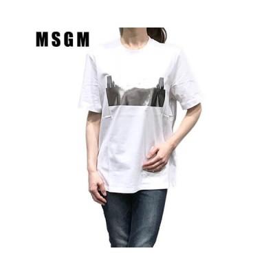 エムエスジーエム/MSGM レディース Tシャツ 2841MDM180 207298/ホワイト/01/セール