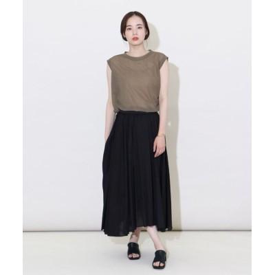 (LASUD/ラシュッド)[Aga] 【手洗い可】コットンボイル ギャザースカート/レディース ブラック