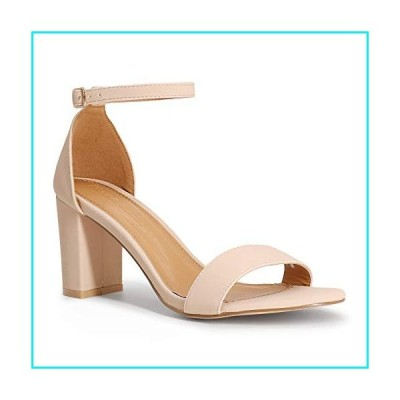 SHOWHOW Women's Ankle Strap Chunky High Heel Sandals Block Open Toe Wedding Party Dress Shoes Nude Nubuck 8 M US【並行輸入品】