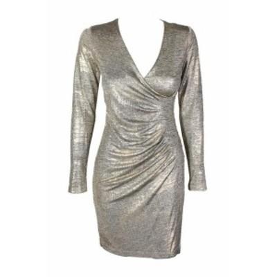 Calvin Klein カルバンクライン ファッション ドレス Calvin KLEIN Small Gold Metallic Faux-Wrap