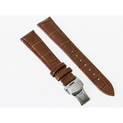 ファッション シンプル 腕時計 交換用 パーツ 合金製 Dバックル バタフライバックル/ダブルタイプ/幅17mm#ブラウン【新品/送料込み】