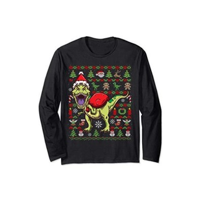 醜いクリスマス ティラノサウルスレックス クリスマスプレゼント 長袖Tシャツ