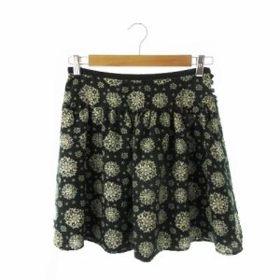 【中古】グリーンレーベルリラクシング ユナイテッドアローズ スカート フレア ミニ 総柄 ウール混 40 緑 グリーン