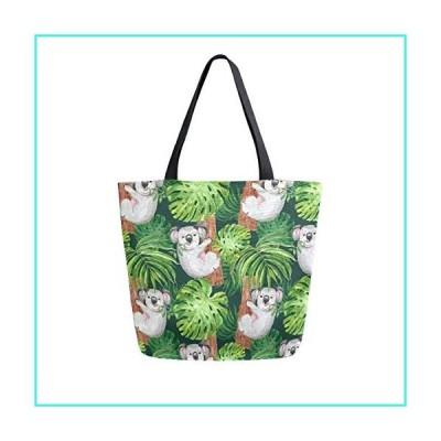 【新品】ALAZA Cute Koala Bear Wild Animal Palm Leaves Large Canvas Tote Bag for Women Girls(並行輸入品)