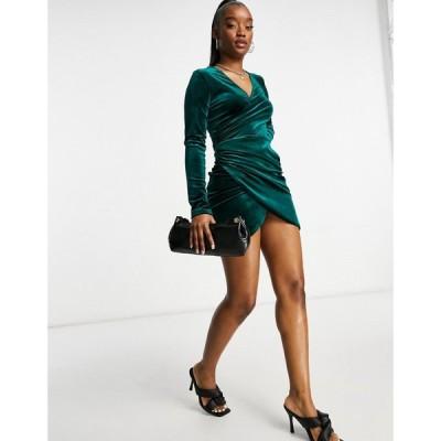 フラウンスロンドン Flounce London レディース ワンピース ラップドレス ワンピース・ドレス Velvet Wrap Dress With Ruched Side In Emerald Green グリーン