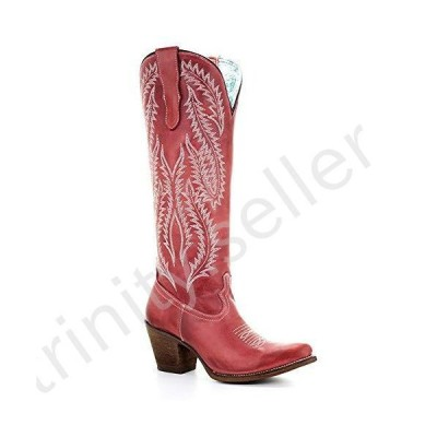 CORRAL Women's Rioja Red Embroidery Tall Top Snip Toe Western Leather Boots, 9.5 Medium並行輸入品