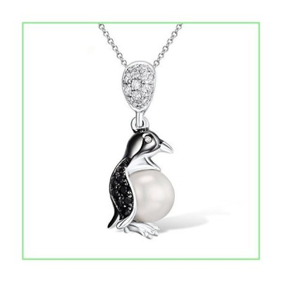 Santuzza Penguin Pendants 925 Sterling Silver Fresh Water Pearl Black Spinel White Cubic Zirconia Stone 並行輸入品