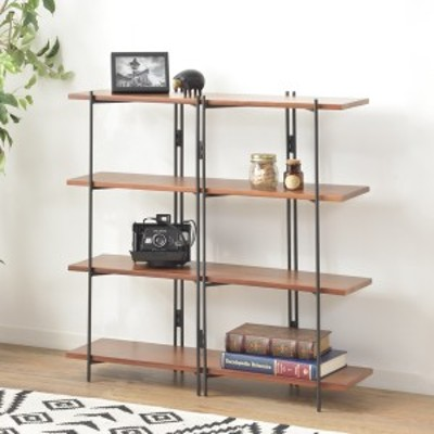 オープンシェルフ 4段ワイド 天然木棚板 エスニック調 ディスプレイラック 幅85cm ( ラック シェルフ オープンラック 本棚 収納棚 スチ