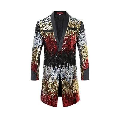メンズ 派手 な ロング ジャケット きらきら 目立つ スパンコール 結婚式 ステージ マジシャン 手品 衣装