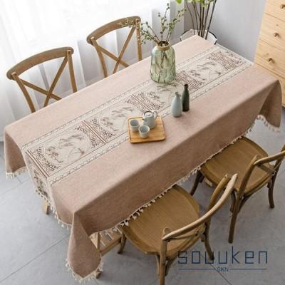 テーブルクロス 北欧 おしゃれ 綿麻 長方形 110×170cm テーブルカバー 古典的 フリンジ 食卓カバー 防塵 耐熱