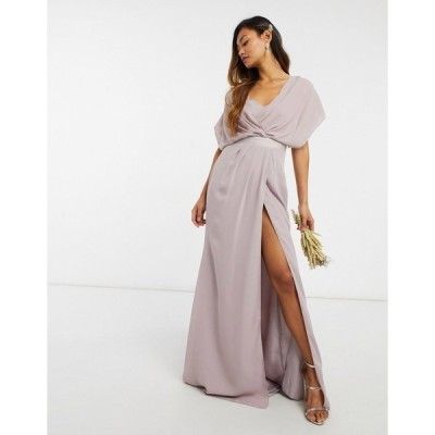 エイソス レディース ワンピース トップス ASOS DESIGN Bridesmaid short sleeved cowl front maxi dress with button back detail Grey