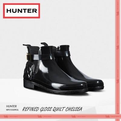 HUNTER ハンター レインブーツ リファインド グロス キルテッド チェルシー  BLACK 長靴  WFS1032RGL BLK
