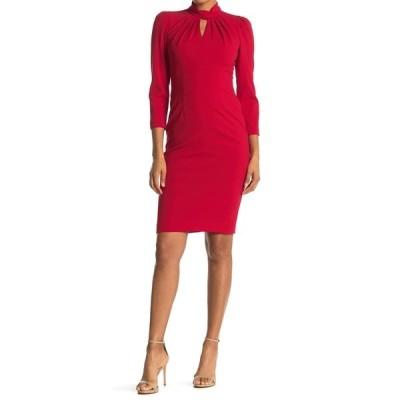 カルバンクライン レディース ワンピース トップス Mock Neck Keyhole 3/4 Sleeve Sheath Dress RED
